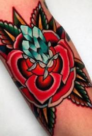 一组色彩鲜明的彩绘oldschool纹身