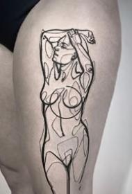 一组线条人体刺青图案欣赏