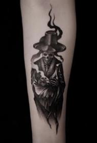 一组霸气的暗黑风schoo纹身图案