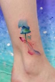 一组美丽的水彩女生纹身图案