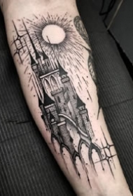 一组哥特黑灰手臂纹身图案