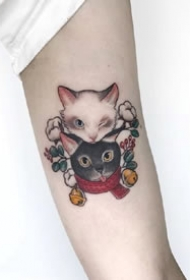 一组超可爱的猫猫纹身图案