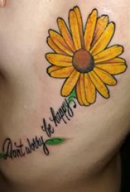 侧腰纹身图 女生侧腰上英文和花朵纹身图案