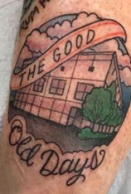 纹身大腿男 男生大腿上英文和建筑物纹身图案