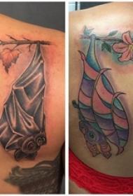 纹身蝙蝠 情侣后背上植物和蝙蝠纹身图案