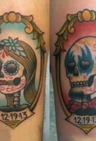 情侣纹身 情侣手臂上骷髅头纹身图案