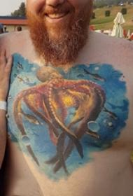 章鱼纹身图案 男生胸口上章鱼纹身图案