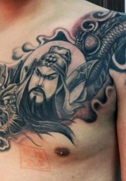 关公和龙结合的霸气纹身图案