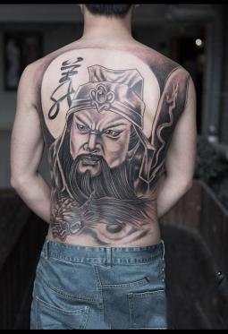 关公義纹身 帅气的关公和义字纹身图案