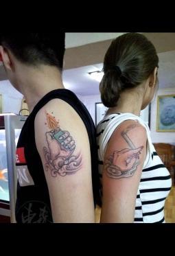 情侣手臂纹身图案一左一右