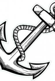 黑灰素描点刺技巧创意海军风船锚纹身手稿