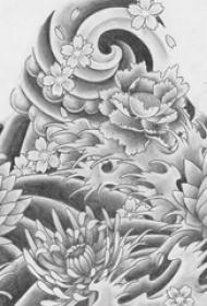 黑灰素描创意霸气花朵图腾纹身手稿