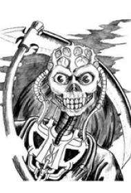 男性喜爱的黑灰色镰刀死神纹身手稿