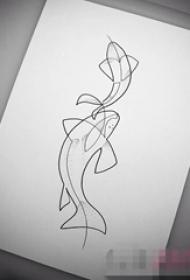 黑色线条素描创意个性小动物海豚纹身手稿