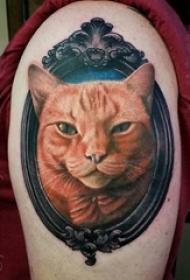 女生手臂上彩绘技巧唯美可爱猫咪与镜子纹身图案